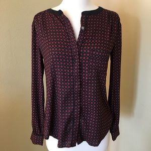 LOFT Blouse Long Sleeve Light Button Up Down Top